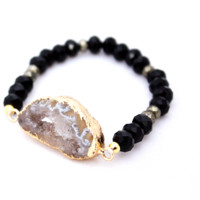 Natural Geode and Onyx Bracelet