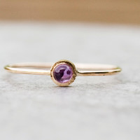 Tiny amethyst gold ring, natural gemstone ring, handmade, fine jewelry, February birthstone