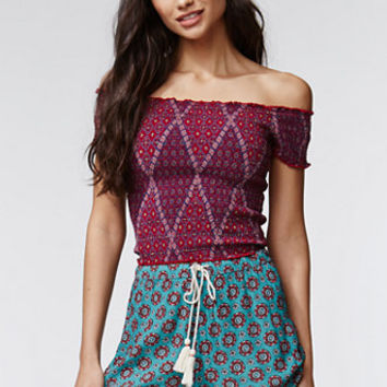 Kendall & Kylie Smocked Cropped Top - Womens Shirts - Red