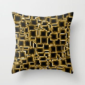 Boxey Gold Throw Pillow by Alice Gosling