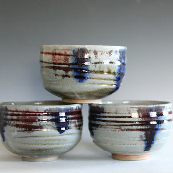 Set of 3 Chawans, Tea Bowls, handmade ceramic tea cups, ceramic and pottery