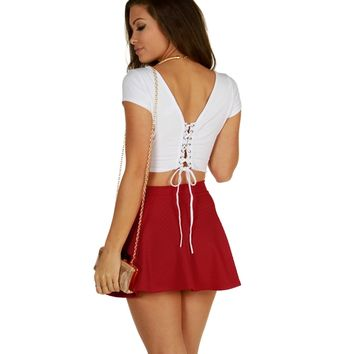 White Lace Me Up Crop Top