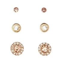 Rhinestone Stud Earrings - 3 Pack by Charlotte Russe - Gold