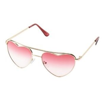 Heart-Shaped Aviator Sunglasses by Charlotte Russe - Gold