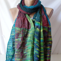 Dark Red, Blue, Teal green mixcolor   Long Scarf, Shawl