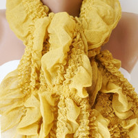 Saffron English Mustard Ruffle Scarf from %100 coton with tassel