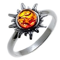 Amazon.com: Certified Genuine Honey Amber and Sterling Silver Flaming Sun Ring, Sizes 5,6,7,8,9,10,11,20: Ian and Valeri Co.: Jewelry
