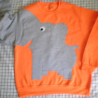 Elephant Trunk sleeve sweatshirt sweater jumper unisex mens M,L,XL  FLOURESCENT hunter orange
