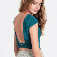 Unobtainable Open Back Crop Top in Emerald - $29.00: ThreadSence, Women's Indie & Bohemian Clothing, Dresses, & Accessories