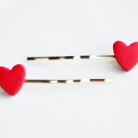 Heart Hair Grips, Fimo, Polymer clay