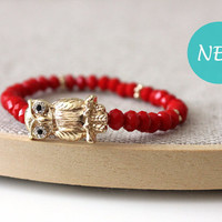 Anthology27, Sweet owl bracelet in red and gold