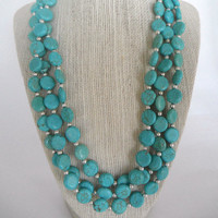 Turquoise Coin Shaped Beads with Silver Bead Spacers Triple Strand Necklace Silver Toggle Fashion Giftunder 60
