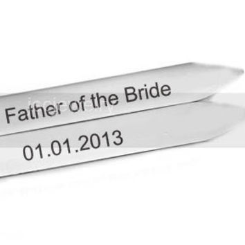2 Collar Stays Father of the Bride or Groom Hand Stamped Shirt Stiffener Stay Men Dad Gift Keepsake Wedding Birthday