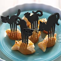 Black Cat Snack Forks Set - Default