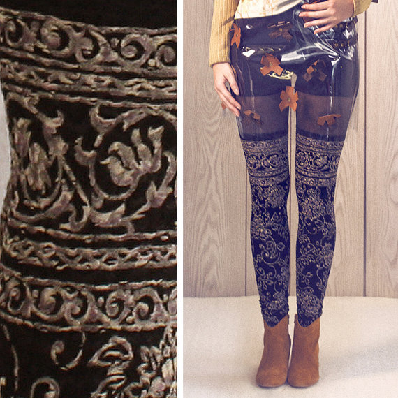 Leggings - Faux Thigh High - Baroque Swirl