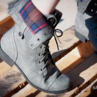 Bumper Freda-03 Grey Cuff Lace Up Boot - Shoes 4 U Las Vegas