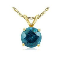 Amazon.com: 14K Yellow Gold Blue Diamond Solitaire Pendant 3/4ct: Jewelry