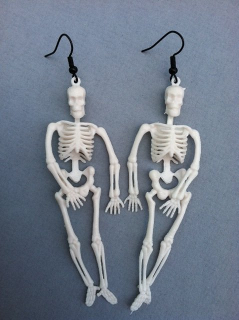 White Skeleton Earrings on Luulla