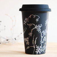 Hand Painted Ceramic EcoFriendly Travel Mug Silver by yevgenia
