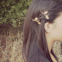 Golden Autumn Leaves - Gold Leaf Branch Bobby Pins - Adorable Boho Bohemian Rustic Elegant Romantic Whimsical - Dreamy - Woodland Collection