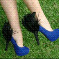 Black Suade and Black Feather Heel Condom