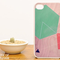 Geometric iPhone Case on Wood Print - Geometric iPhone 4 Case - Mint Green on Wood Print