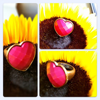 Vintage Pink and Gold Heart Shaped Ring (Women/Girls)