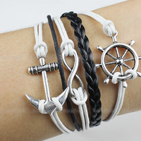 Bracelet-rudder bracelet, Infinity bracelet, anchor bracelet, leather bracelet, wax cords bracelet