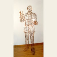 Seattle Man Lifesize Copper Wire Sculpture by sparkflight on Etsy