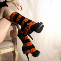 Halloween Leg warmers  Orange and Black Striped by LeshasWorkshop