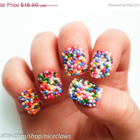 SALE Candy Sprinkles Nails, Bubblegum Gumball Artificial Short 3D Fingernails