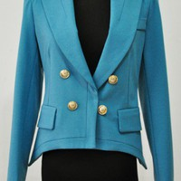 Blue Long Sleeve Epaulet Buttons Shoulder Pads Suit - Sheinside.com