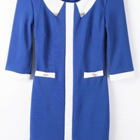 Blue Lapel Half Sleeve Metal Bow Bodycon Dress - Sheinside.com