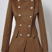 Camel Long Sleeve Buttons Embellished Coat - Sheinside.com