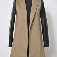 Camel Notch Lapel Contrast Leather Long Sleeve Coat - Sheinside.com