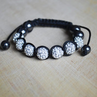 Shining Bracelet Crystal Bracelet Shamballa Bracelet Hematite Bracelet