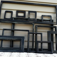 13 Black Wooden Frames / Instant Wall Grouping / Empty Frames / Boys Room