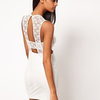 ASOS Mini Dress with Lace Detail at asos.com
