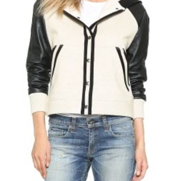 Madewell Tracy Leather Mix Snap Jacket