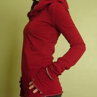 long sleeved hooded top BURGUNDY by joclothing on Etsy