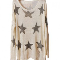 Star Print Ripped Knitted Pullovers in Beige