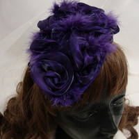 Fascinating hat, Elegant Purple Hat / Fascinator with Feathers