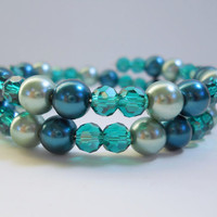 Turquoise Pearl Bracelet Memory Wire Bracelet
