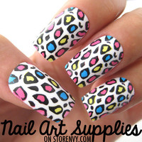 Colorful Color Block Leopard Animal Print Fake Artificial Nails from nailartsupplies