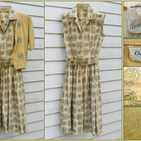 Sale - Vintage 1950s Henry Rosenfeld Medallion Print Cotton Sleeveless Shirtwaist Dress and Sweater - sz S