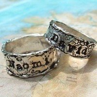 Custom Personalized His and Her Pair of Lover's Rings in Oxidized Fine Silver, Eco Friendly Jewelry, 4 5 6 7 8 9 10 11 12 13 14 15