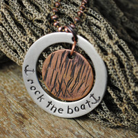 "Two Tone Nautical Anchor Pendant in Nickel Silver and Copper Reads ""Rock the Boat"""