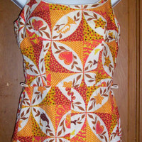 Vintage 60's-70's One Piece Swimsuit Cole of California Size 12 Retro Pattern
