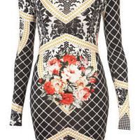 Baroque Print Tapestry Bodycon Dress
