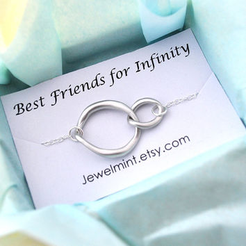 Silver infinity Necklace, everyday Necklace, infinity jewelry, everlasting lover, enternity, gift for BFF note card message, gold filled